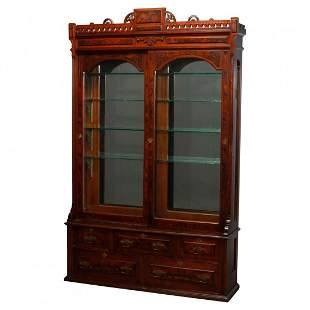 Eastlake Walnut & Burl Sliding Door Display Case, c1890