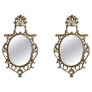 Pair Large French Louis XIV Giltwood Wall Mirrors,19thC