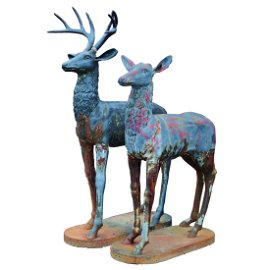 "Life Size 69""h Cast Iron Elk attr Robert Wood, Phila"