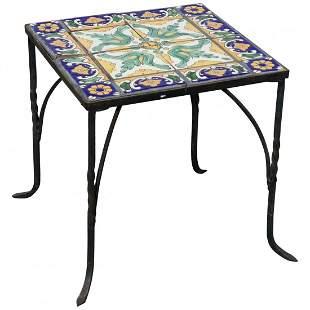 Arts & Crafts Oscar Bach Style Iron & Tile Table c1930