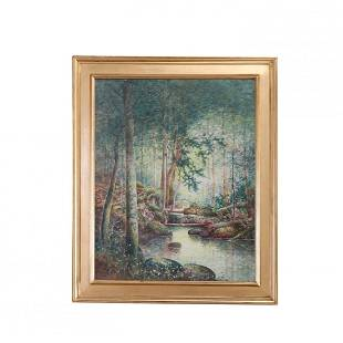 Arts & Crafts Signed Watercolor Landscape Painting 1930
