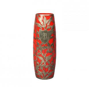 Antique Art Nouveau Silver Overlay Art Glass Vase c1900