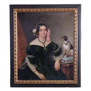 Antique Folk Art Oil on Canvas Portrait of Woman & Dog