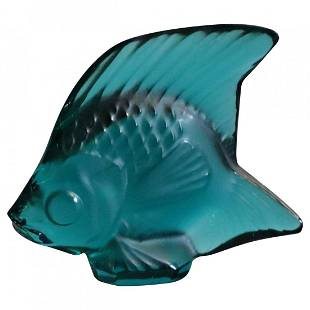 French Lalique Art Glass Miniature Teal Angel Fish