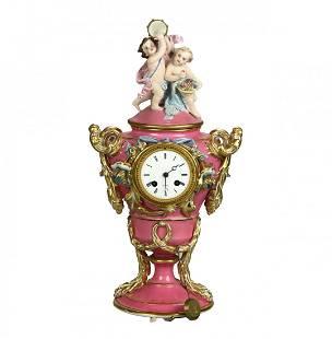 French Old Paris Porcelain Figural Cherub Clock