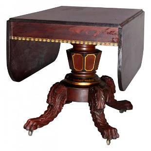 American Empire Classical Flame Mahogany/Gilt Table
