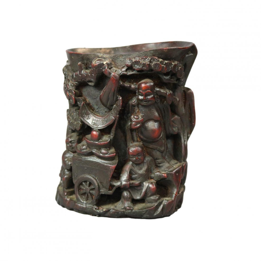 Chinese Carved In Relief Resin Libation Cup, 20th