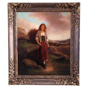 Antique English Portrait Painting of a Young Woman