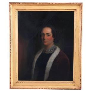Antique Portrait Painting, Newcomb Macklin School Frame