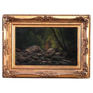 Antique Landscape Painting, Mountain Stream, circa 1890