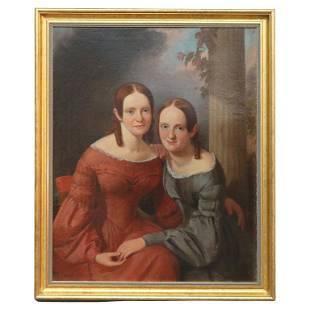 Large Antique Oil on Canvas Portrait Painting, Sisters