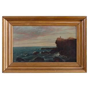 Antique Painting of Coastal Cliffside Seascape