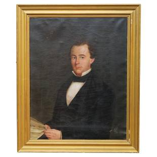 Lg Early Antique Portrait Painting, Man with NY Times