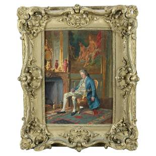 Antique French Painting Genre Parlor Scene by Borione