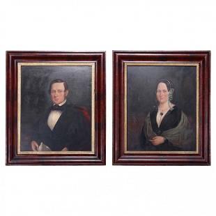 Lg Antique Portrait Paintings Man & Woman, Ogee Frames