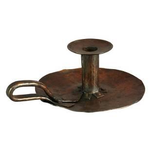 Hammered Copper Chamber Candlestick after Van Erp