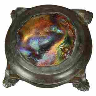 Bronze & Art Glass Paperweight After Tiffany, 20th C