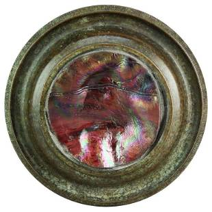 Antique Bronze & Art Glass Paperweight after Tiffany