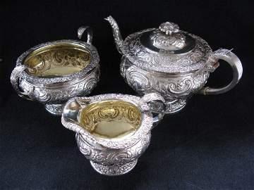 74: EXCEPTIONAL THREE PIECE STERLING TEA SET
