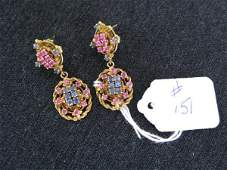 151 PAIR 14K GOLD RUBY AND SAPPHIRE DROP EARRINGS