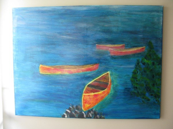 11: OIL ON CANVAS, UNSIGNED, CANADIAN, CANOES