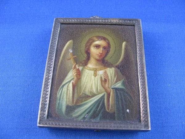 20: LATE 19TH C HAND PAINTED RUSSIAN ICON,  WITHIN A SI