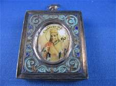 22 HAND PAINTED RUSSIAN ICON WITHIN A SILVER FRAME WIT