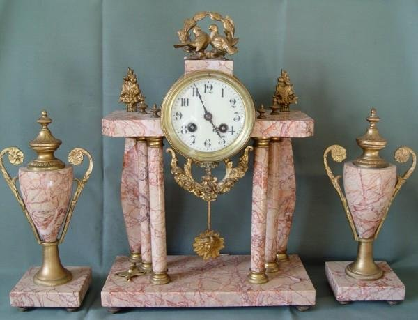 35: 19TH CENTURY FRENCH MARBLE CLOCK AND GARNITURE SET