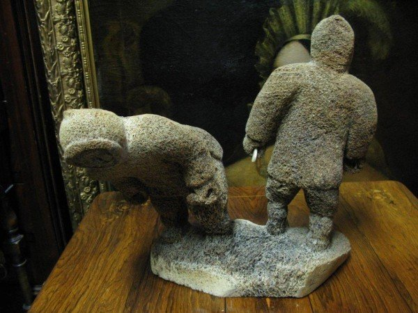 9J: WHALE BONE CARVING OF TWO HUNTERS - 2