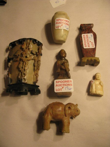17:ASSORTED LOT - ORIENTAL SOAPSTONE AND IVORY FIGURES