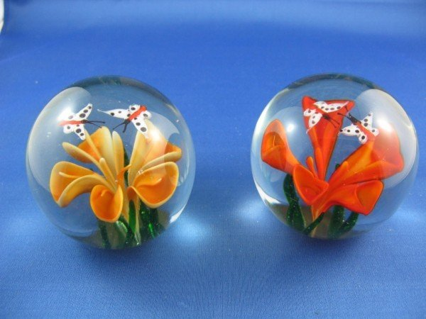 1: TWO CRYSTAL PAPERWEIGHTS