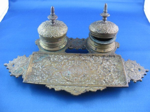 2: VINTAGE BRASS DOUBLE INKWELL
