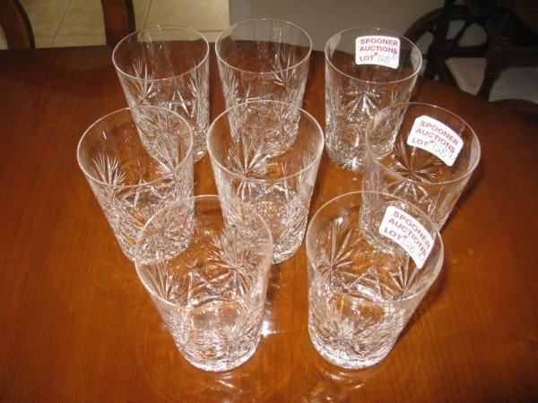 12B: EIGHT CRYSTAL WATER GLASSES