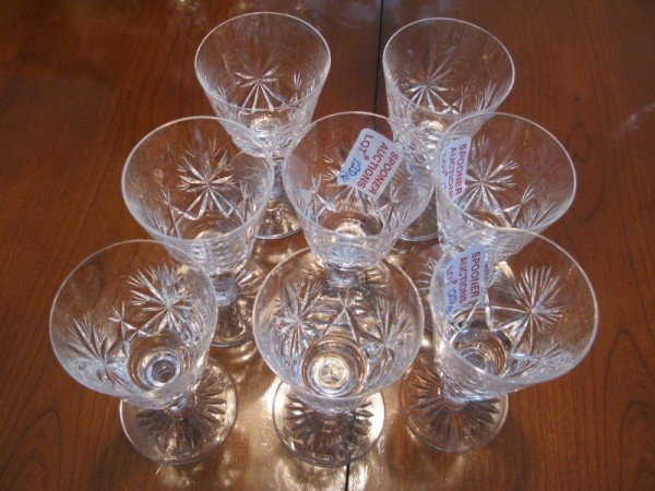 12D: EIGHT CRYSTAL WHITE WINE GLASSES