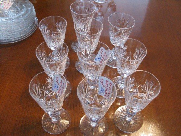 12E: TEN CRYSTAL SHERRY GLASSES
