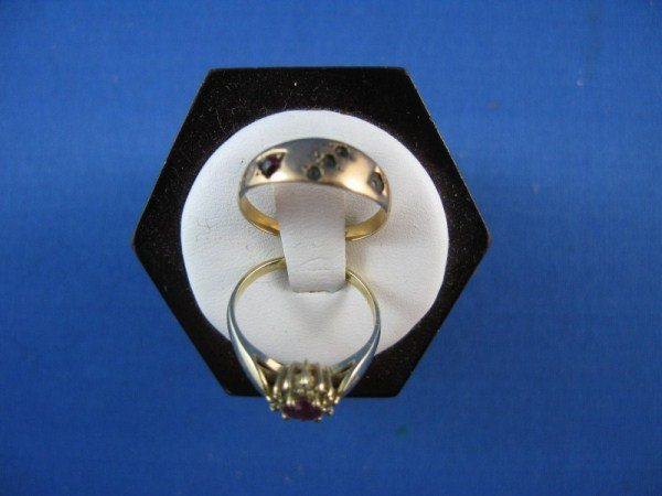 7: PAIR 10K GOLD RINGS WITH STONES