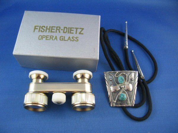 9: PAIR FISHER DIETZ OPERA GLASSES + LARIAT BOLO TIE