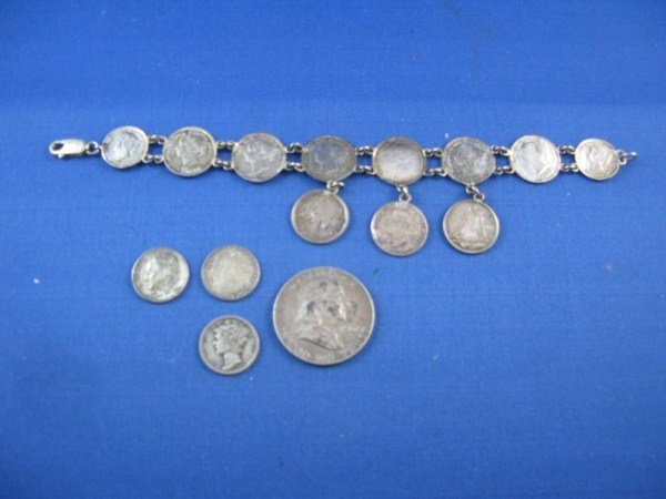 11: STERLING SILVER COIN BRACELET PLUS SILVER COINS