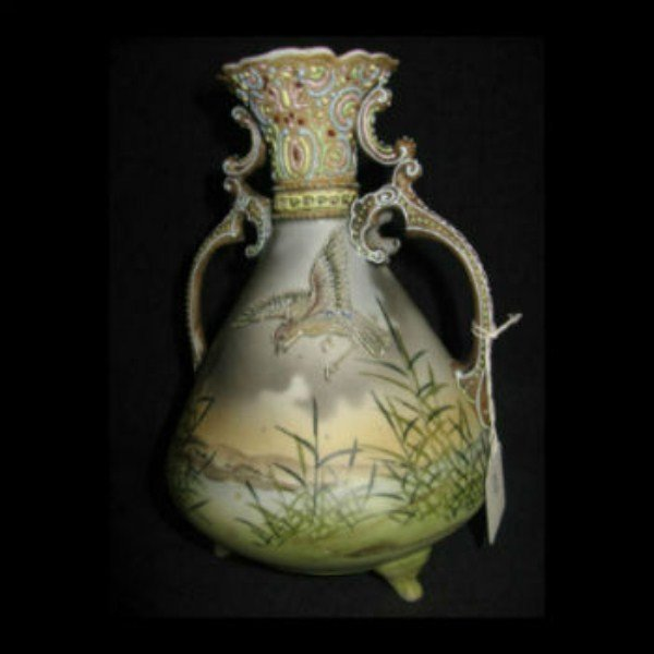16A: FINELY ENAMELLED NIPPON TWO HANDLED VASE