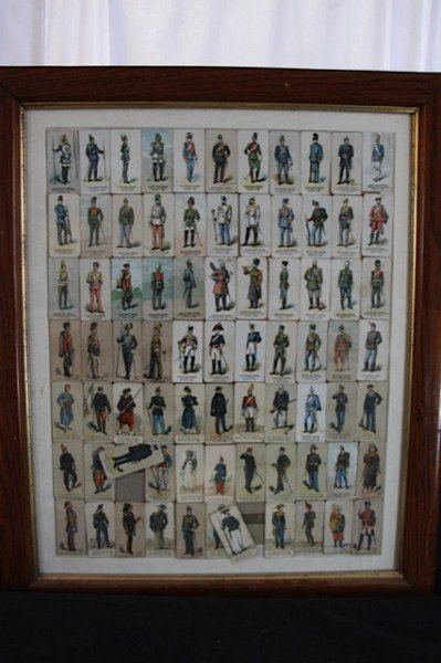 12: FRAMED SWEET CAPORAL CIGARETTE MILITARY CARDS