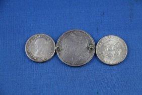 3: TWO SILVER U.S. HALF DOLLARS PLUS 1880 COIN BROOCH