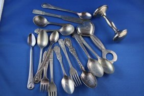 4: BOX LOT CHILDRENS SILVERWARE AND RATTLES