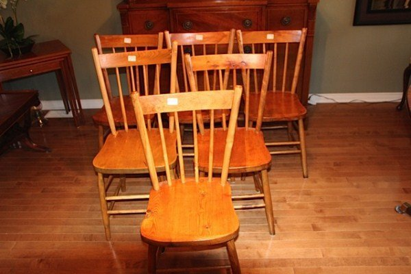 SET OF SIX ANTIQUE PINE COUNTRY CHAIRS