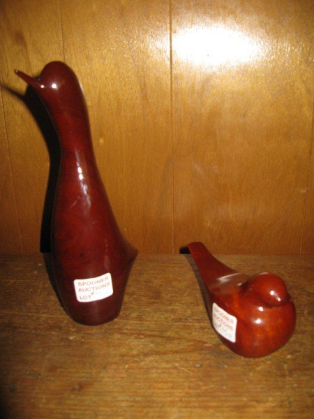 PAIR OF SOLID MAHOGANY CARVED BIRDS
