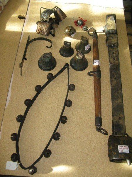 ASSORTMENT OF BELLS AND AN ANTIQUE HORSE SPREADER