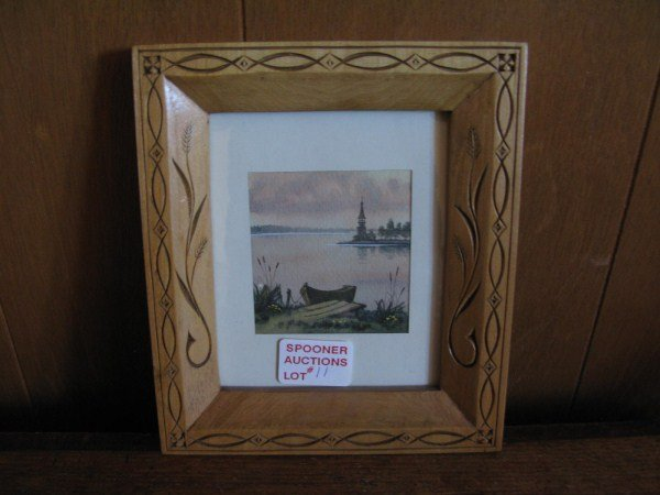 HANDCARVED BUTTERNUT FRAME WITH WATERCOLOUR