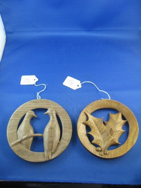 TWO HAND CARVED CHRISTMAS ORNAMENTS