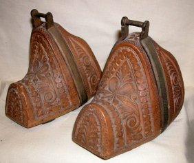 PAIR 19TH CENTURY HAND CARVED SPANISH STIRRUPS
