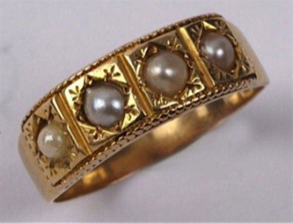 ANTIQUE 18K PEARL RING