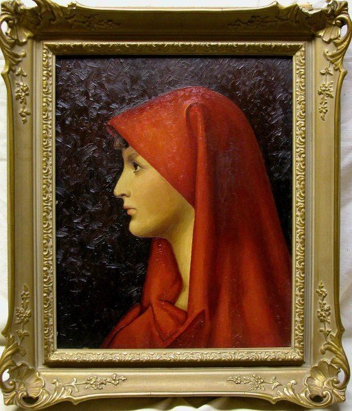 OIL ON BOARD - THE LADY IN RED AFTER HENNER